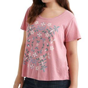 Lucky Brand Dusty Rose Pink Mosaic Floral Tee Top